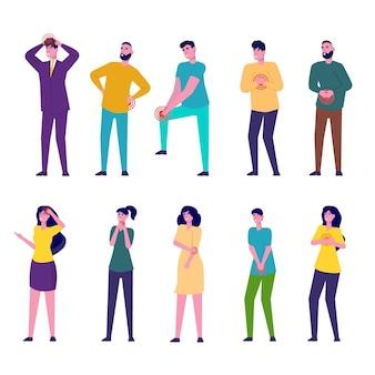Zestaw znaków mężczyzn i kobiet z bólem w różnych częściach ciała.