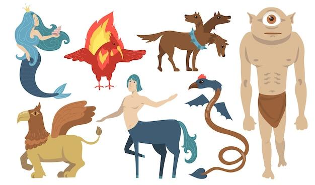 Zestaw znaków mitycznych stworzeń. latający lew, cyklop, gryf, centaur, syrenka, cerber. do mitologii greckiej, fantasy, legendy, kultury, literatury