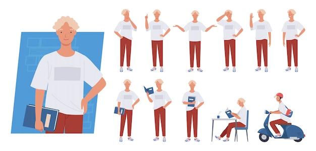 Zestaw znaków młodego człowieka. student trzyma książkę, jazda skuterem, różne pozy i emocje.