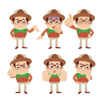 Zestaw znaków młodego człowieka w różnych emocji.