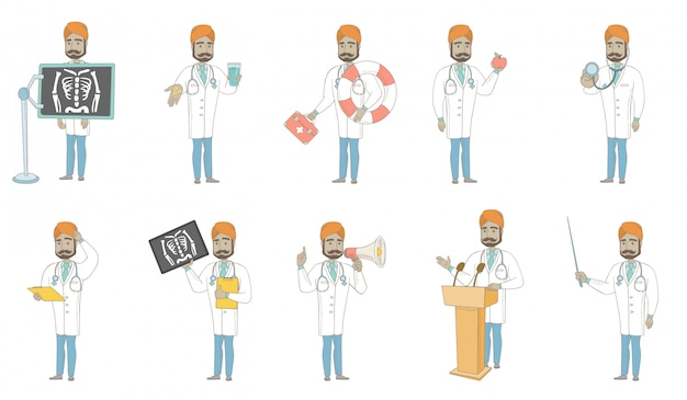 Zestaw znaków młodego lekarza indyjskiego