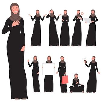 Zestaw znaków młodej kobiety muzułmańskiej płaska konstrukcja