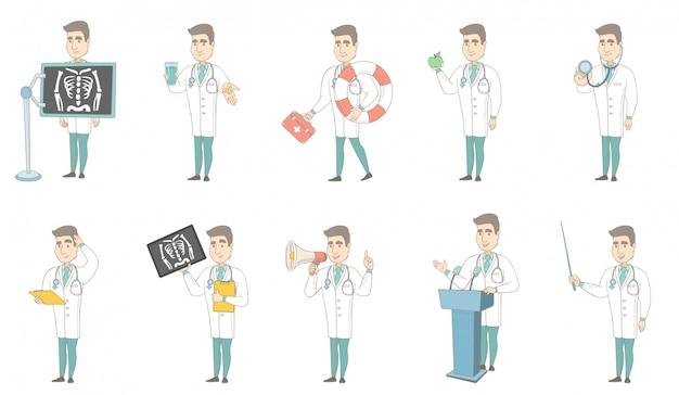 Zestaw znaków młodych kaukaski lekarz
