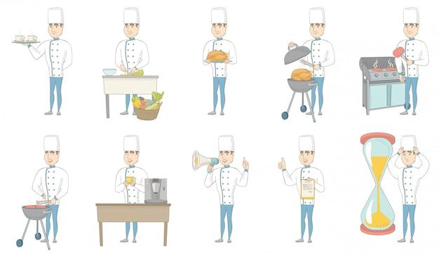 Zestaw znaków młodych kaukaski szefa kuchni