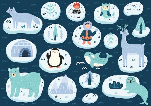 Zestaw znaków na biegunie północnym. urocza kolekcja zwierząt arktycznych. ilustracja