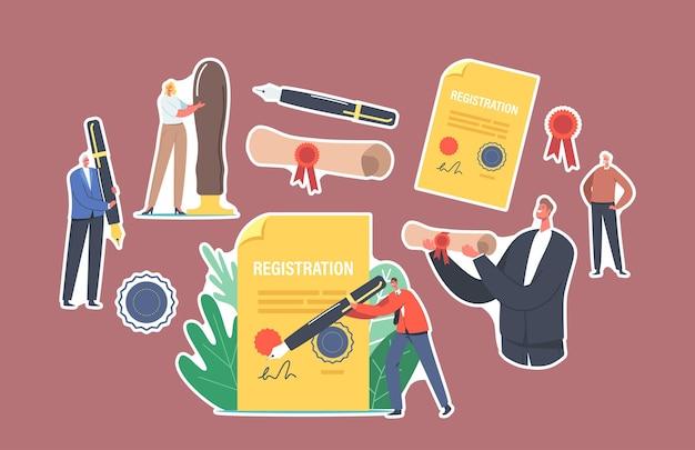 Zestaw znaków naklejek podpisywania dokumentu do rejestracji nowej firmy. formularz rozpoczęcia działalności gospodarczej, proces budowania tożsamości marki. procedura tworzenia firmy. ilustracja wektorowa kreskówka ludzie