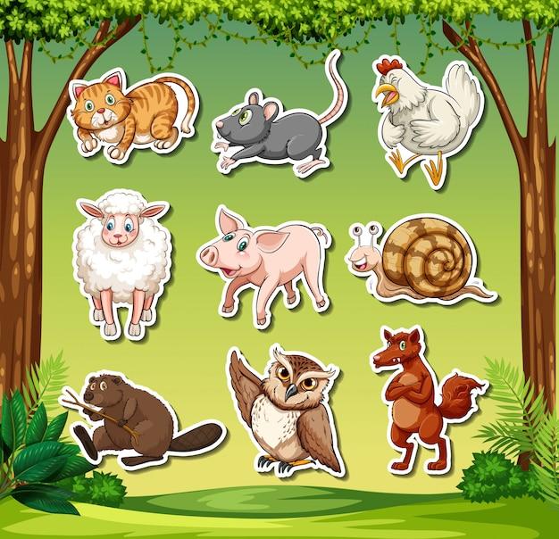 Zestaw znaków naklejki zwierząt