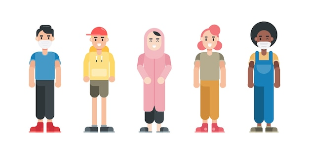Zestaw znaków nastolatka. nowoczesne postacie z kreskówek w stylu płaski.
