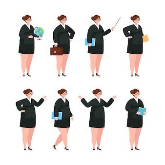 Zestaw znaków nauczyciel kobieta