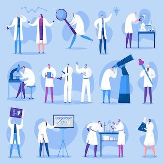 Zestaw znaków naukowców, ludzi nauki, lekarzy mężczyzn i kobiet na ilustracjach laboratoryjnych. badania naukowe i eksperymenty, testy, medycyna i edukacja.