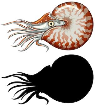 Zestaw znaków nautilusa i jego sylwetka na białym tle