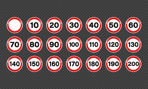 Zestaw znaków ograniczenia prędkości.