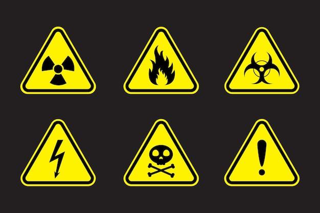 Zestaw znaków ostrzegawczych ilustracji wektorowych