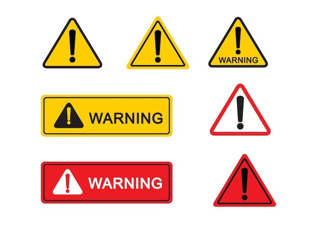 Zestaw znaków ostrzegawczych na białym tle znak niebezpieczeństwa