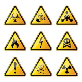 Zestaw znaków ostrzegawczych.