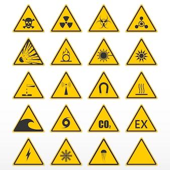 Zestaw znaków ostrzegawczych