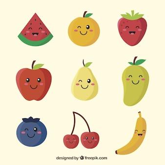 Zestaw znaków owocowych z różnorodnymi wyrazami twarzy