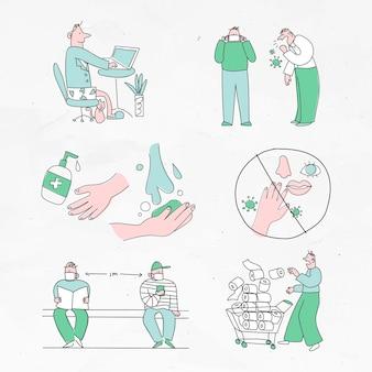 Zestaw znaków pandemii koronawirusa
