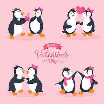 Zestaw znaków para słodkie pingwiny w różnych pozach