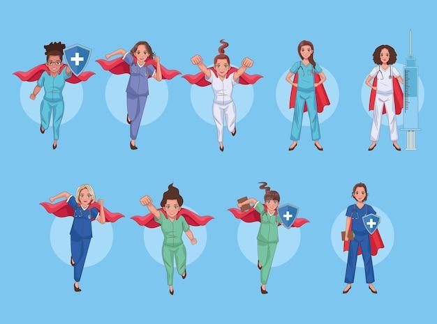 Zestaw znaków personelu lekarzy bohaterów
