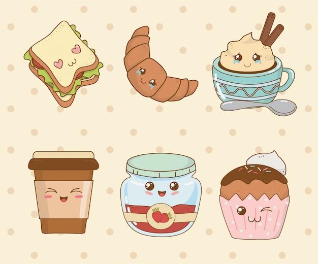 Zestaw znaków piekarni kawaii żywności
