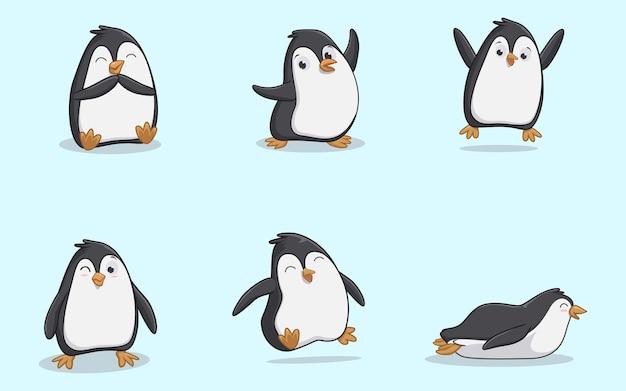 Zestaw znaków pingwina w różnych pozach
