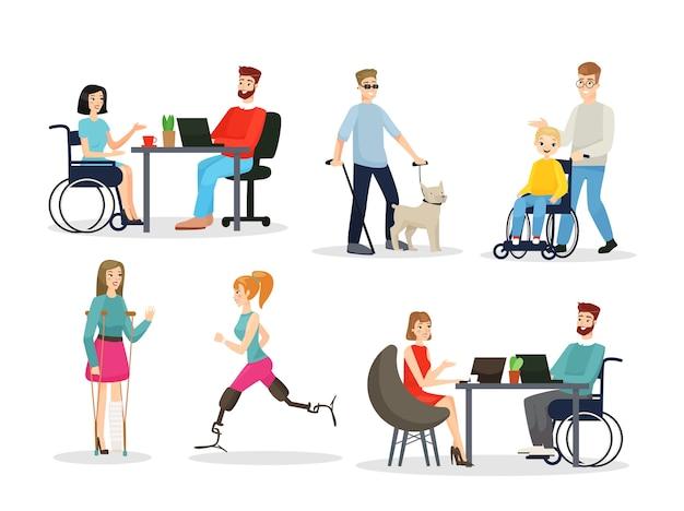 Zestaw znaków płaskich osób niepełnosprawnych pełnopłatna koncepcja życia niepełnosprawni mężczyźni i kobiety