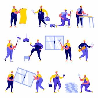 Zestaw znaków pracowników naprawy domu płaski ludzi