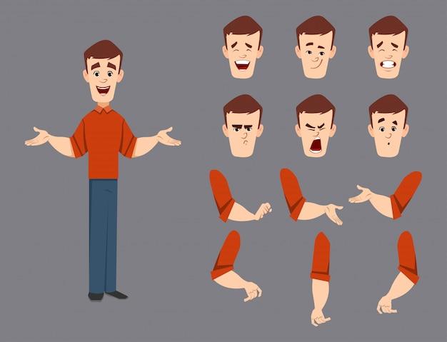 Zestaw znaków przystojny mężczyzna dla ruchu lub animacji