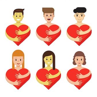 Zestaw znaków przytulanie serca. ludzie kreskówki posiadają czerwone symbole miłości na białym tle.