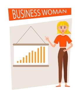 Zestaw znaków roboczych interesu. dziewczyna pokazuje się na wykresie rozwoju.