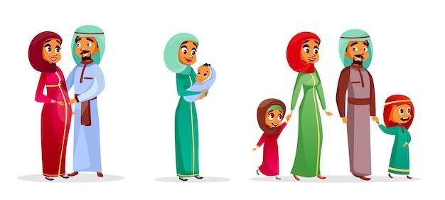Zestaw znaków rodziny arabskich kreskówek. szczęśliwy saudyjczyk, emiraty muzułmanin para, mężczyzna, kobieta