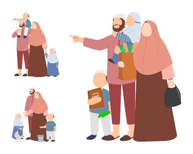 Zestaw znaków rodziny muzułmańskiej