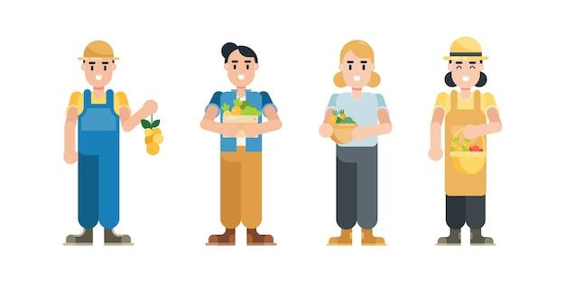 Zestaw znaków rolnika. nowoczesny mężczyzna i kobieta postaci z kreskówek w stylu płaski.