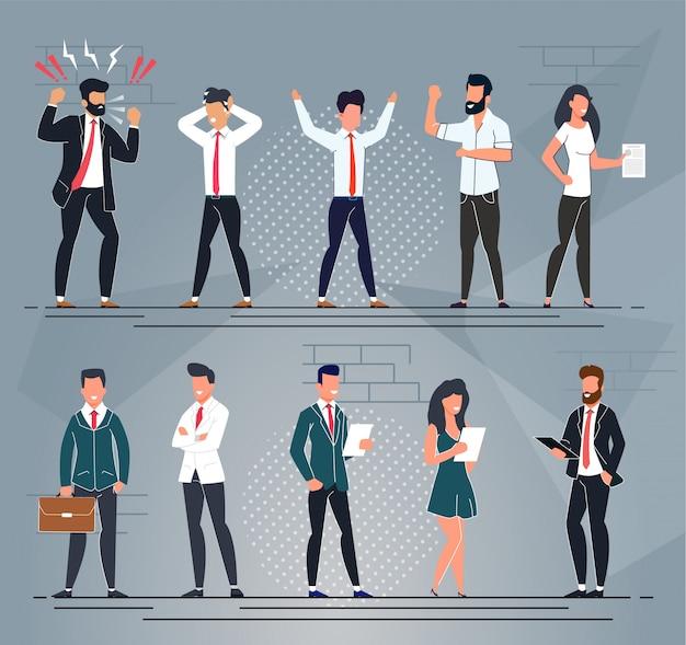 Zestaw znaków różnych ludzi biurowych kreskówek