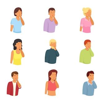 Zestaw znaków różnych ludzi, kobiet i mężczyzn z facepalmem