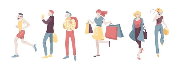 Zestaw znaków różnych ludzi miejskich spaceru na białym tle. guy run, woman talk smartphone i zakupy