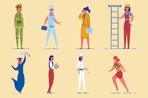 Zestaw znaków różnych zawodów kobiet pracujących.