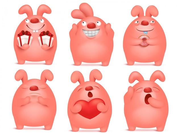 Zestaw znaków różowy emotikon kreskówka króliczek w różnych sytuacjach.