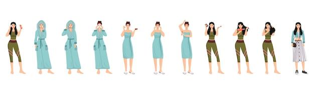 Zestaw znaków rutynowych kolorów żeńskich rano. twarz, ciało i włosy procedury spa ilustracje kreskówka na białym tle. kobiety codziennie pielęgnują skórę i pielęgnują włosy