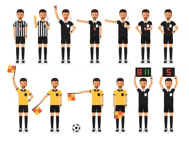 Zestaw znaków sędzia piłkarski.