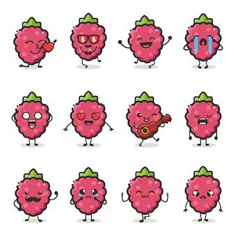 Zestaw znaków słodkie czerwone owoce jagód w różnych emocji działania