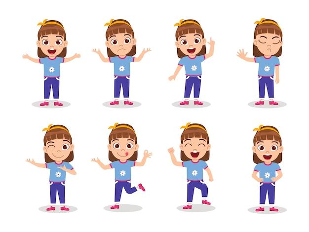 Zestaw znaków słodkie dziecko dziewczyna na białym tle z różnymi wyrażeniami emocji i działaniami