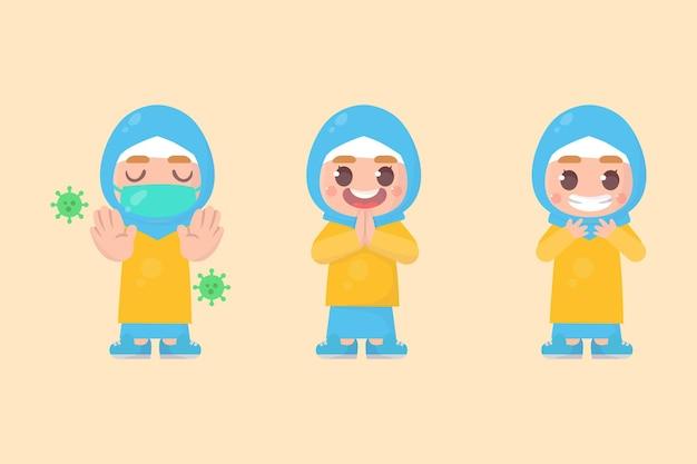 Zestaw znaków słodkie dziewczyny hidżab szczęśliwych dzieci z wieloma wyrażeniami gestów