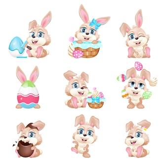 Zestaw znaków słodkie króliczki wielkanocne