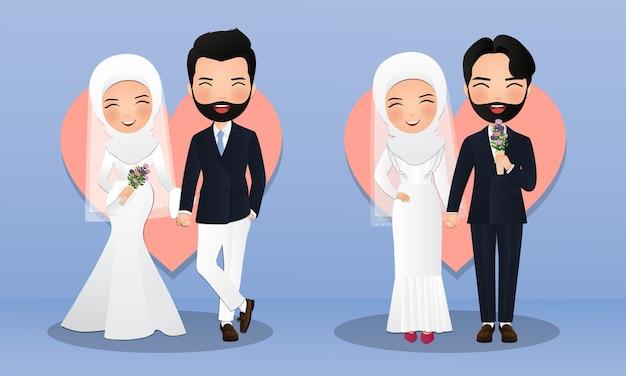 Zestaw znaków słodkie muzułmańskie panny młodej i pana młodego. para kreskówka w miłości