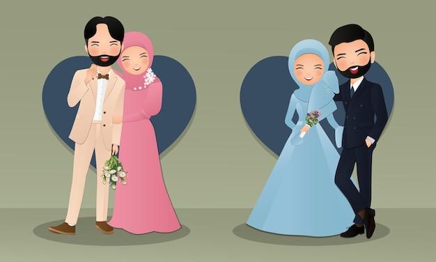 Zestaw znaków słodkie muzułmańskie panny młodej i pana młodego.