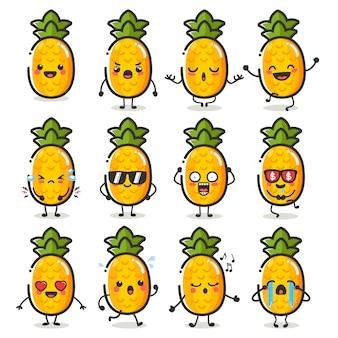 Zestaw znaków słodkie owoce ananasa w różnych emocji działania