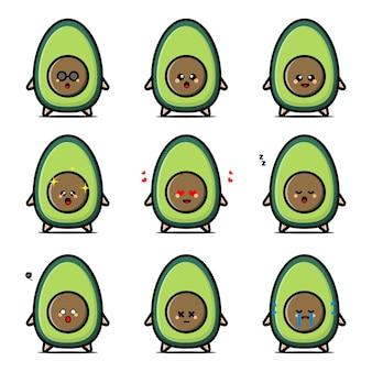 Zestaw znaków słodkie owoce awokado w różnych emocjach
