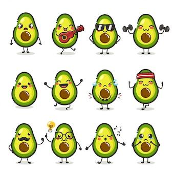 Zestaw znaków słodkie owoce awokado w różnych emocji działania